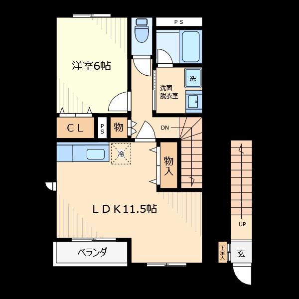 階段も部品を配置するだけです。フローリングは部分的に描けて線色も部屋に合わせて変更できます。