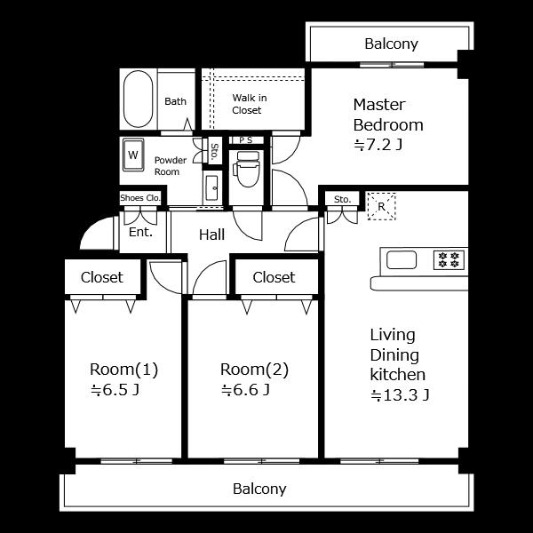 FAX送信・白黒印刷の時など、部屋数が多くてもくっきり見えます。