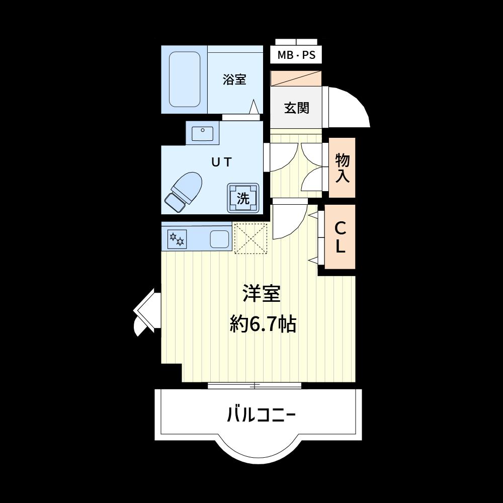 バルコニーの形状は21種類用意されています。(使用カラー:カラー2、壁色1)