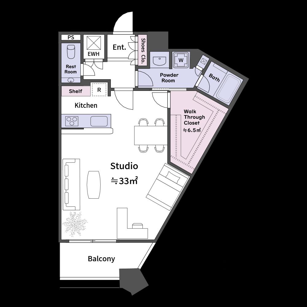 家具も豊富に取り揃えています。方位マークは5種類用意されています。(使用カラー:カラー3、壁色2)