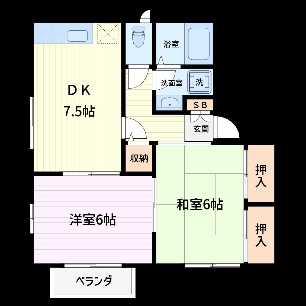 このような標準的な2DKの作成時間は5~6分です。直感的に操作できるのがMizdoriの特徴です。(使用カラー:カラー2、壁色1)