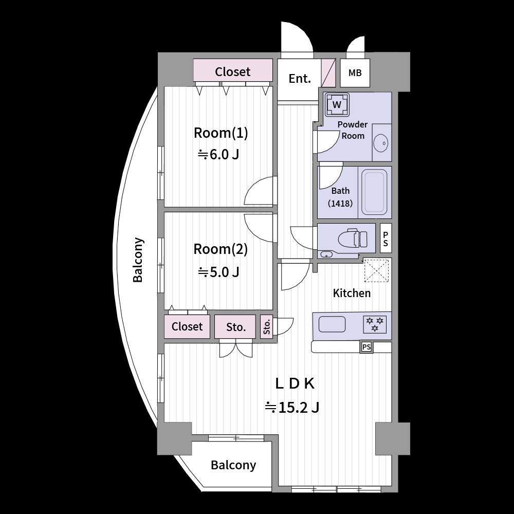 アーチ状のバルコニーも簡単に作成できます。(使用カラー:カラー3、壁色3)