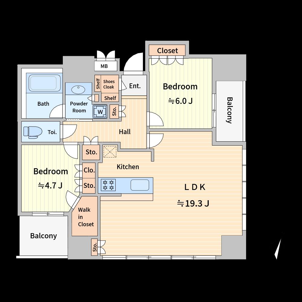 非定型な間取り図の作成は苦労しますが、「下絵表示」や「トレースモード」を使えば、元画像通りに作成できます。(使用カラー:カラー1、壁色4)