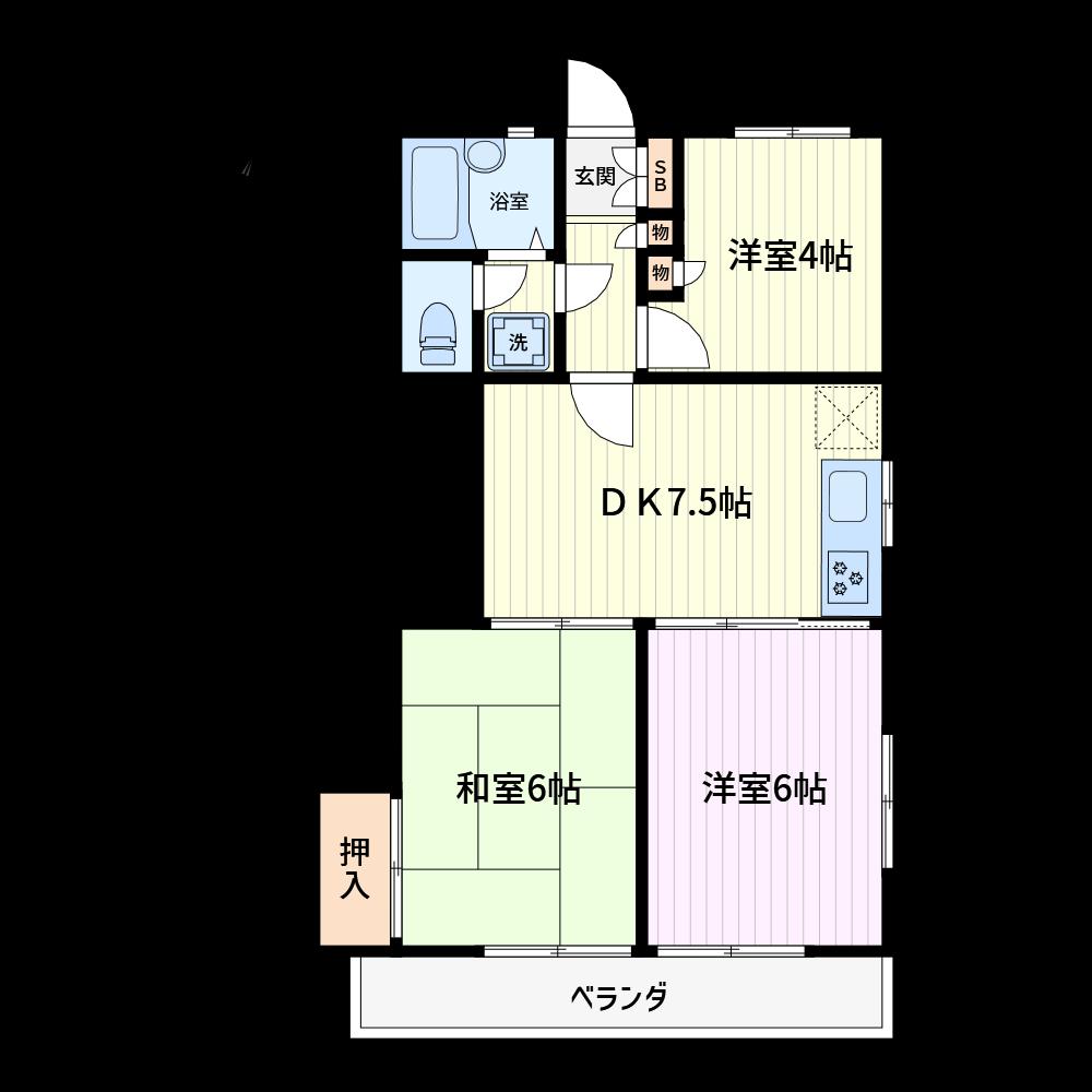 ハウスメーカーの賃貸用3DKです。どなたでも10分足らずで作成できます。(使用カラー:カラー2、壁色1)