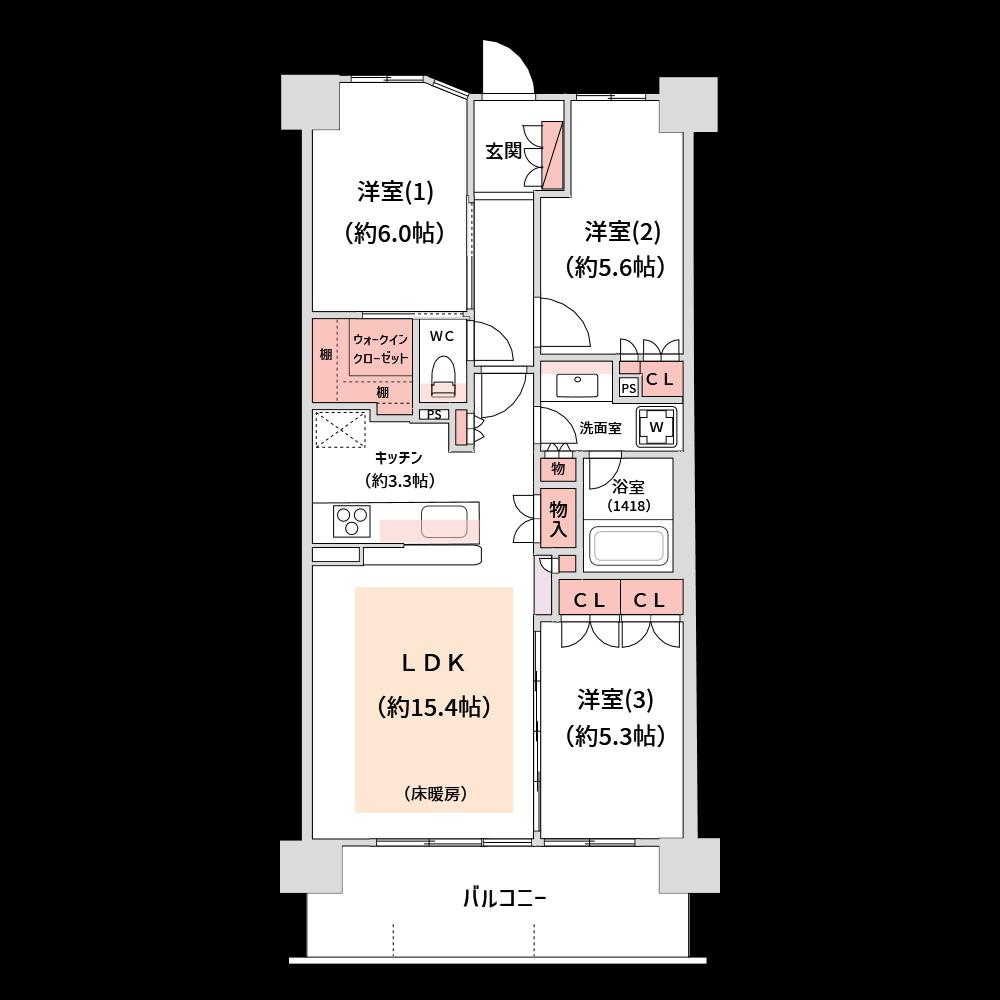 分譲パンフレット用に作成した間取り図です。収納部分と床暖房だけ独自の色を使っています。(使用カラー:ユーザ作成色、壁色5)
