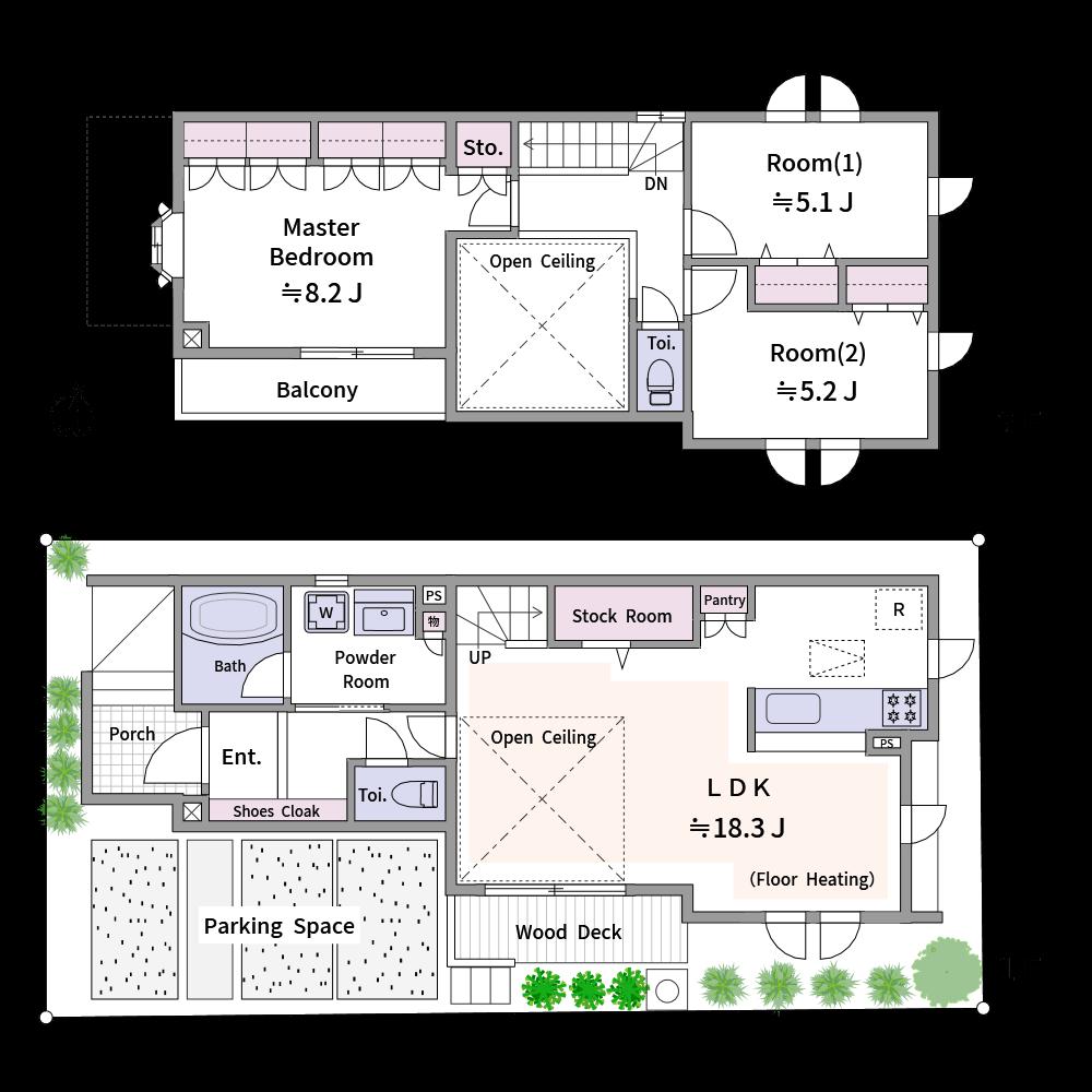 英語表記を使った分譲戸建ての広告用間取り図です。(使用カラー:カラー3、壁色3)