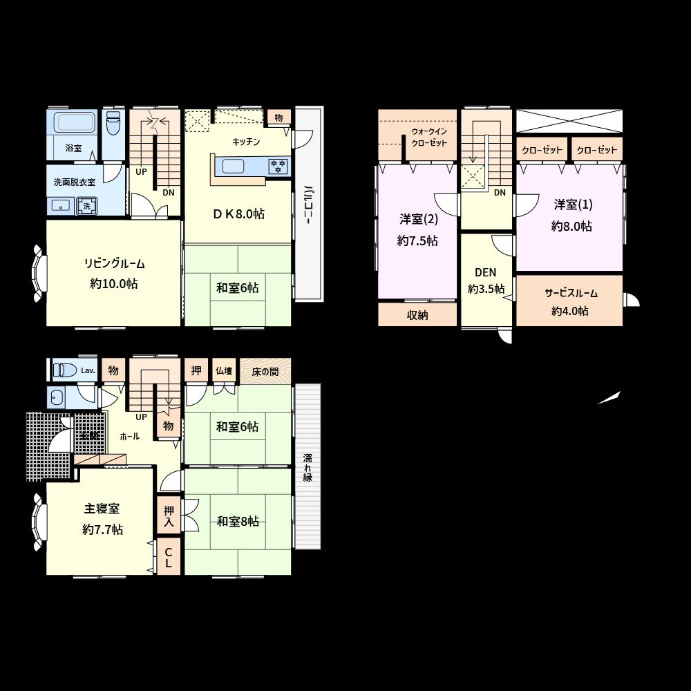 3階建て戸建ての作成例です。(使用カラー:カラー2、壁色1)