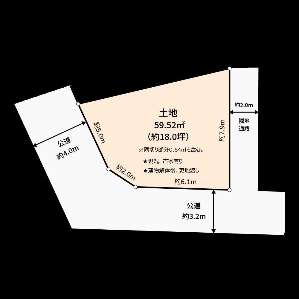 販売用の土地の作成例です。(使用カラー:ユーザ作成色、壁なし)