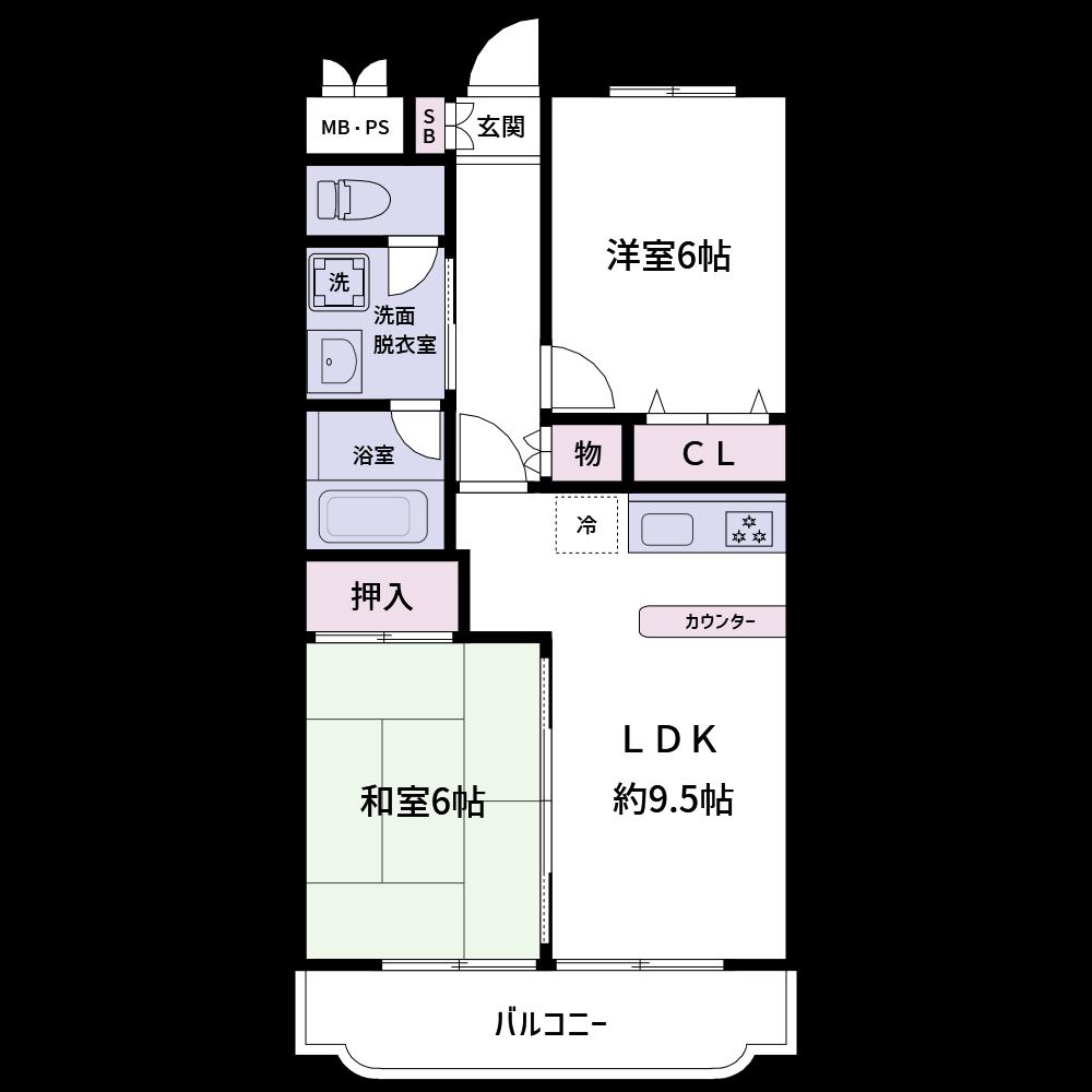 カラー3 水回り、収納、和室はカラー3の専用色で、それ以外は白で統一された標準色です。